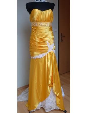 Žluté společenské šaty s vlečkou na míru