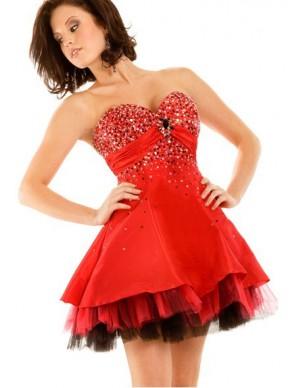 červené krátké plesové šaty Jolana