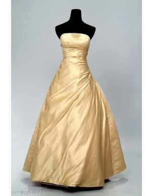 svatební plesové společenské zlaté šaty L