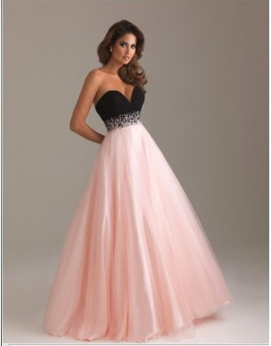 luxusní růžovo-černé plesové společenské šaty na maturitní ples Mandy XS-M