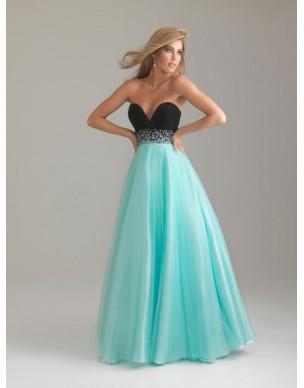 luxusní modro-černé plesové společenské šaty na maturitní ples Mandy L-XL