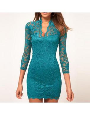 krajkové tyrkysové krátké společenské šaty Carolina S a M