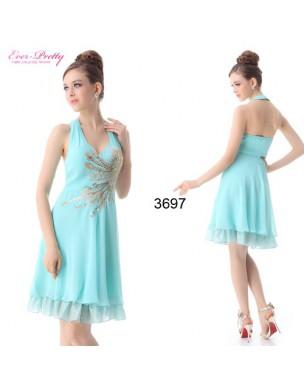 tyrkysové krátké společenské šaty Lydia L