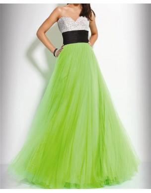 zeleno-bílé plesové společenské šaty na maturitní ples Arial S-M