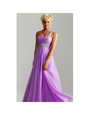 světle fialové antické plesové společenské šaty na jedno rameno Ruby S-M