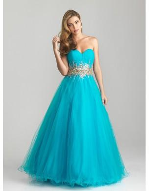 modré tyrkysové plesové společenské šaty Kelly M-L