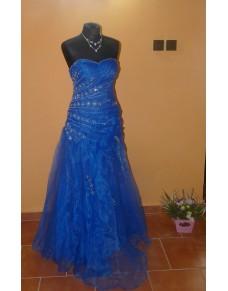 brzy sexy modré plesové společenské šaty S-M