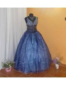 brzy luxusní modré plesové společenské šaty na maturitní ples Princess M-L