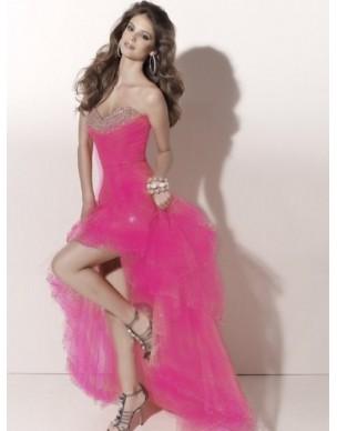 Paris luxusní růžové plesové šaty na maturitní ples S-M