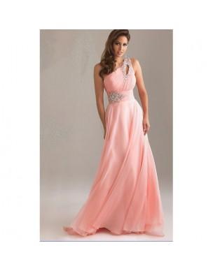 dlouhé antické společenské plesové růžové šaty na jedno rameno Donna
