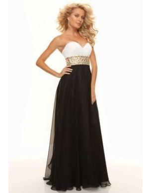 černo-bílé antické plesové společenské šaty Evita XL-XXL