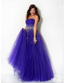 luxusní fialovo-modré plesové společenské šaty Fabrizia S-M