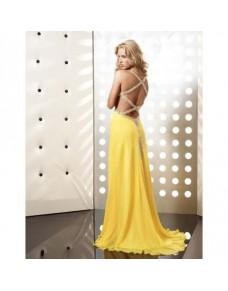 sexy žluté plesové společenské šaty s otevřenými zády Claudia XS-S