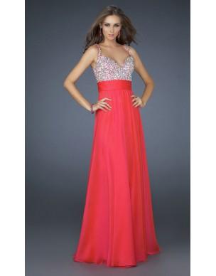 luxusní červené společenské plesové šaty Bella XS