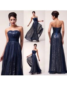 luxusní modré flitrované plesové šaty Jessica S-M