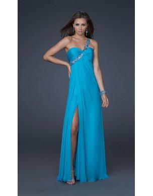 světle modré plesové společenské šaty na jedno rameno Lara L-XXL
