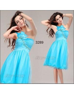 světle modré tyrkysové společenské šaty na jedno rameno M