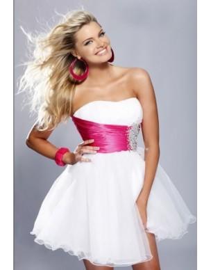 krátké společenské šaty růžovo-bílé Victoria - barvu možno navolit