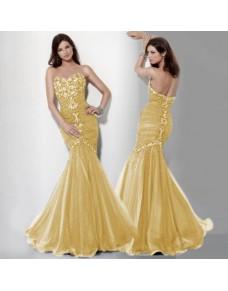 luxusní žluté plesové společenské šaty mořská panna Mandy XS-M