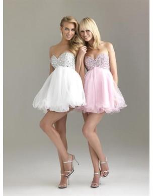 krátké bílé společenské šaty Nina XS, S