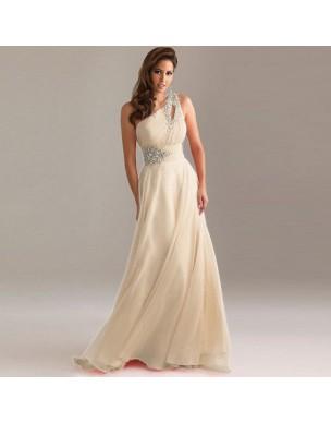 dlouhé champagne svatební antické společenské plesové šaty na jedno rameno Donna XXL-XXXL