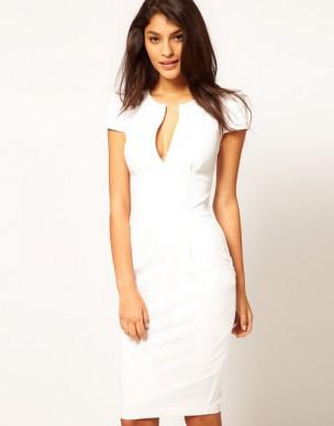 klasické krátké bílé společenské šaty Vilma M-L
