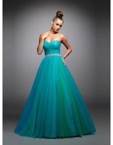 luxusní plesové šaty tyrkysové na maturitní ples Teal S-M