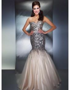 extra luxusní plesové šaty meruňkové na maturitní ples Donna M-L