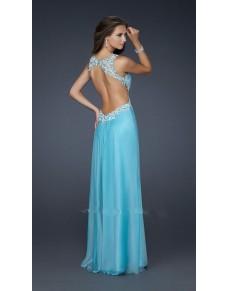 luxusní světle modré plesové šaty s otevřenými zády Mandy XS-S