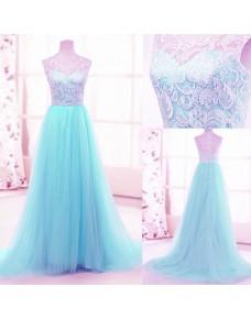 luxusní světle modré plesové šaty tylové Penelopé XS-S