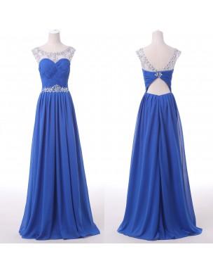 luxusní modré plesové šaty na maturitní ples Valencia XS