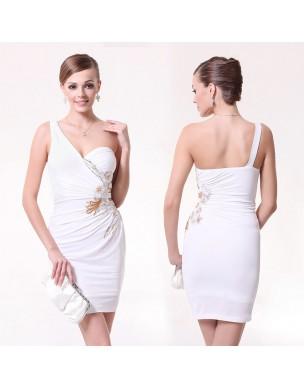 překrásné krátké bílé společenské šaty na jedno rameno M