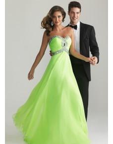 luxusní plesové šaty neonově zelené Ginger M-L