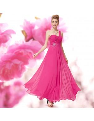 zářivě růžové společenské šaty antické na jedno rameno Trinity S