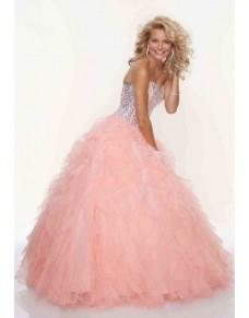 luxusní lososové plesové šaty na maturitní ples Viola XS-M
