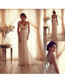 luxusní antické svatební šaty krémové Callidora S