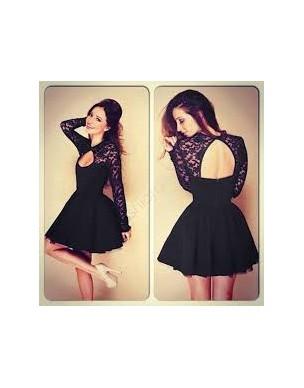 krátké černé krajkované společenské šaty s holými zády S-M