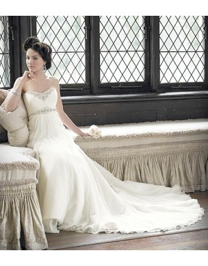 krémové antické svatební šaty Sandra M-L i pro těhulku