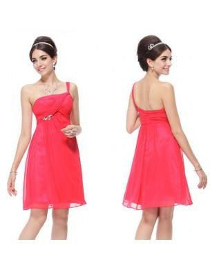 krátké růžové společenské šaty na jedno ramínko XXL
