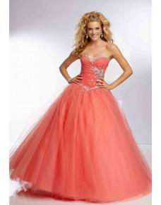 luxusní lososové plesové šaty na maturitní ples Vienca S-M