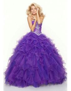 luxusní fialové plesové šaty na maturitní ples nadýchané Veronica S-M