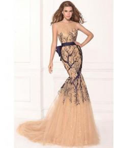 úzké plesové krémové společenské šaty Fivona XS