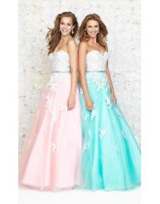 luxusní modré tylové plesové společenské šaty s bílou krajkou Elize S-M