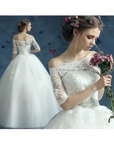 luxusní svatební šaty krajkované s rukávy Loretta  L-XL