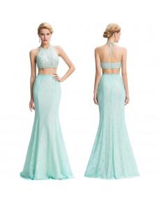 světle modré dvoudílné tyrkysové plesové šaty Katharine XS-S