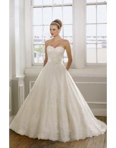 luxusní krajkované krémové svatební šaty Elza L-XL
