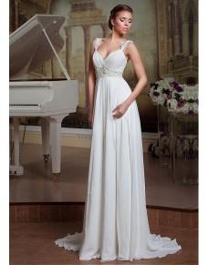 bílé antické svatební šaty na ramínka Silvia XS-S