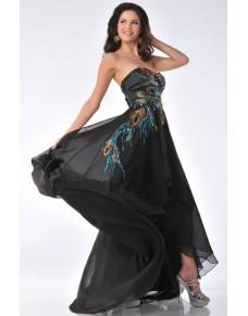 dlouhé černé paví společenské šaty Elma XS-M