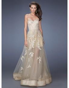 luxusní champagne plesové šaty na maturitní ples 2017 Teresia XS-S