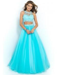 modré dvoudílné plesové šaty na maturitní ples Anika XS